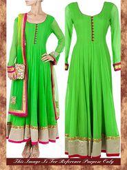 Arisha Georgette Embroidered Semi-Stitched Anarkali Suit - Green