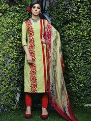Arisha Enterprises Pure Cotton Embroidered Dress Material - Beige - ARA403