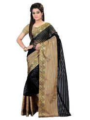 Bhuwal Fashion Plain Cotton Silk Black Designer Saree -bhl09