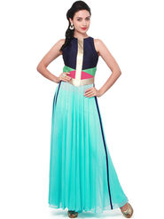 Bhuwal Fashion Solid Georgette Turquoise Kurti -Bfbm10008