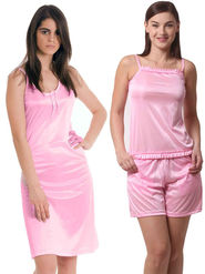 Set Of 2 Being Fab Satin Lycra Solid Nightwear -fbl12