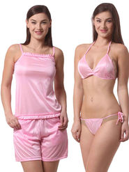 Set Of 4 Being Fab Satin Lycra Solid Nightwear -fbl23