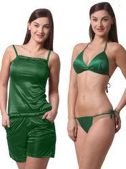Set Of 4 Being Fab Satin Lycra Solid Nightwear -fbl29