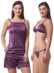 Set Of 4 Being Fab Satin Lycra Solid Nightwear -fbl32