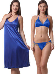 Set Of 3 Being Fab Satin Lycra Solid Nightwear -fbl45