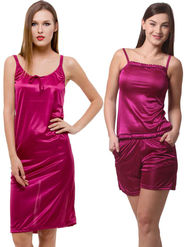 Set Of 3 Being Fab Satin Lycra Solid Nightwear -fbl16
