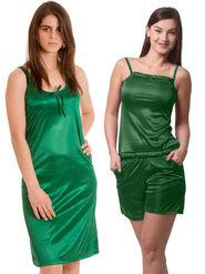Set Of 3 Being Fab Satin Lycra Solid Nightwear -fbl18
