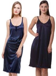 Set Of 2 Being Fab Satin Lycra Solid Nightwear -fbl09