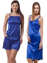 Set Of 3 Being Fab Satin Lycra Solid Nightwear -fbl22