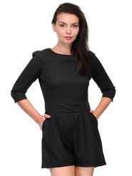 Being Fab Crepe Jumpsuit -Bfjsuit001Blk