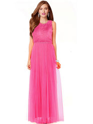 Styles Closet Plain Net Stitched Pink Gown -Bnd-10004
