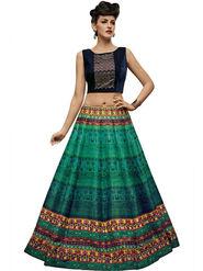 Styles Closet Bangalori Silk Turquoise Semi-Stitched Lehenga Choli -Bnd-7028