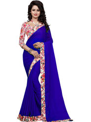 Styles Closet Plain Jacqaurd Blue Saree -Bnd-80089
