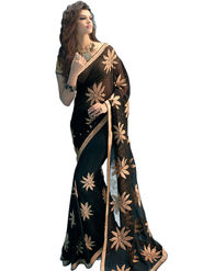 Styles Closet Embroidered Chiffon Black Sarees -Bnd-8742