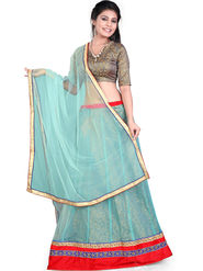 Styles Closet Designer Net & Brocked Semi Stitched Lehenga Choli -Bnd-Hl1