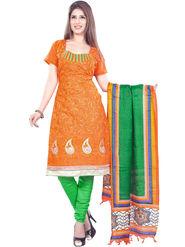Styles Closet Embroidered Chanderi Semi-Stitched Orange Suit -Bnd-Shv2005