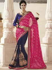 Bahubali Crepe Jacquard Embroidered Saree - Pink