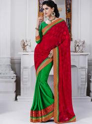 Bahubali Jacquard Embroidered Saree - Red - GA.50217