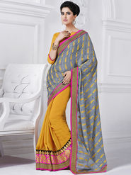 Bahubali Jacquard Embroidered Saree - Grey - GA.50224