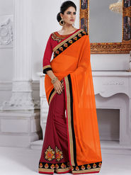 Bahubali Georgette Embroidered Saree - Orange - GA.50228