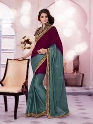 Bahubali Satin Jacquard Embroidered Saree - Purple And Green