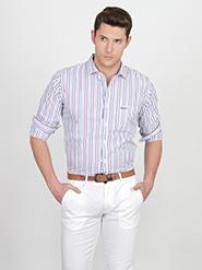 Basics Striped Slim Fit Cotton Casual Full Sleeves Shirt for Men - White