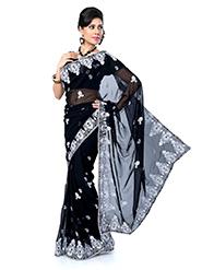 Embroidered Chiffon Saree - Black-1412