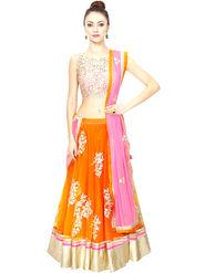 Styles Closet Printed Net Semi Stitched Lehenga Choli-Bnd-7017