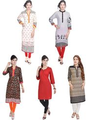 Pack of 5 Shop Rajasthan Printed Cotton Kurti -SREN9001