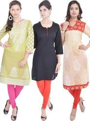 Pack of 3 Shop Rajasthan Printed Cotton Kurti -SREN9003