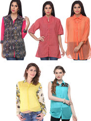 Combo of 5 Lavennder Georgette Cotton & Solid Printed Ladies Shirts-la06