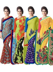 Combo of 4 Adah Fashions Georgette Printed Multicolor Sarees -ad02