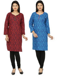 Combo of 2 Arisha Cotton Printed Kurtis -Combo03