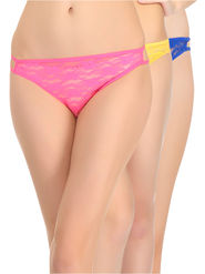 Pack of 3  Clovia Cotton Blend & Lace Brief -Combopn27