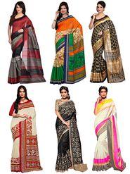Pack of 6 Shonaya Printed Bhagalpuri Art Silk Saree -oct08