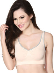 Clovia Cotton Plain Bra - Peach