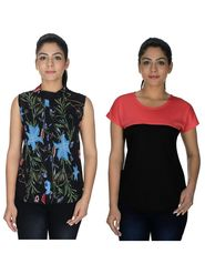 Pack of 2 Arisha Printed Georgette & Plain Viscose Top -ars131