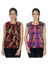 Pack of 2 Sai Arisha Printed Georgette & American Crepe Top -ars133
