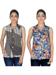 Pack of 2 Arisha Printed American Crepe Top -ars139