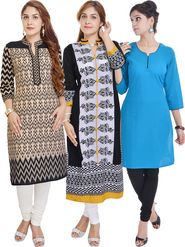 Pack of 3 Shop Rajasthan Printed Cotton Kurti -SREN9004