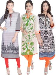 Pack of 3 Shop Rajasthan Printed cotton Kurti -SREN9005