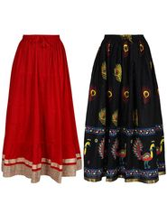 Pack of 2 Amore Embellished Cotton Skirt -sk03