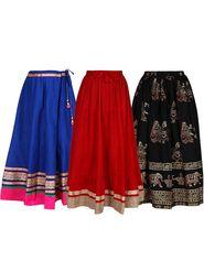 Pack of 3 Amore Embellished Cotton Skirt -sk02