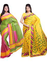 Combo of 2 Ishin Bhagalpuri Silk Printed Saree-Combo-289