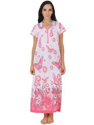 Fasense Shinker Cotton Floral Print Nightwear Long Nighty -DP150B1