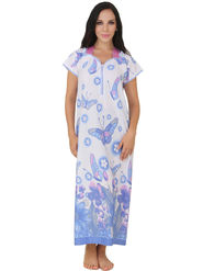 Fasense Shinker Cotton Floral Print Nightwear Long Nighty -DP150C1