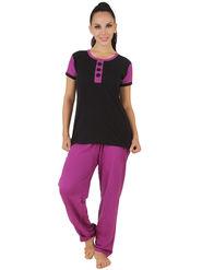 Fasense Shinker Cotton Solid Print Nightwear Set of Top & Pyjama -DP164B1