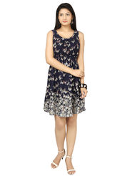 Arisha Crepe Printed Dress DRS1052Blk-M