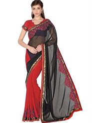 Designersareez Faux Georgette Embroidered Saree - Black & Red - 1762