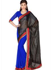 Designersareez Viscose Jaquard & Faux Georgette Embroidered Saree - Black & Blue